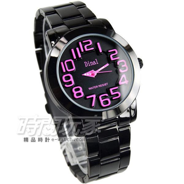 Dinal 時尚數字時刻腕錶 女錶 學生錶 數字錶 石英錶 粉x黑 IP黑韓版 韓國 正韓 D8162IP粉紅