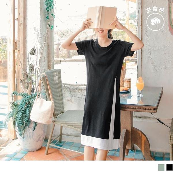 《DA7617-》台灣製造.假兩件高含棉造型拼接慵懶長版洋裝 OB嚴選
