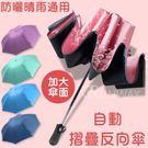 【下單前請參照庫存表】 自動款反向三折傘  抗UV 防紫外線黑膠傘 一鍵開收傘 雨天上下車用超方便