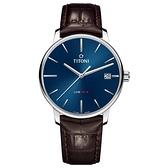 TITONI 梅花 LINE1919 超薄自製機芯 機械錶 83919S-ST-612 藍