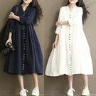 雙砂布 V領釦子造型洋裝外套罩衫-中大尺...