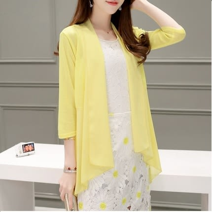 【HN02】新款韓版女裝中長款外套雪紡拼接薄款針織衫開衫空調衫