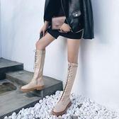 過膝靴 秋季正韓百搭長筒靴子女過膝平底系帶學生CHIC機車馬丁靴 瑪麗蓮安
