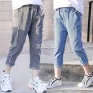 七分褲 女童七分褲夏款中大童薄新款破洞褲女孩洋氣中褲兒童夏季牛仔褲子 快速出貨