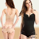 后脫式連體塑身衣大碼條紋無痕收腹 塑身連體衣