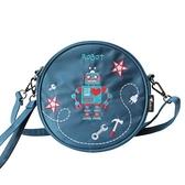 斜背包-刺繡時尚趣味機器人圓形女肩背包73st28[巴黎精品]