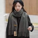 圍巾 圍巾女冬季保暖百搭羊毛純色加厚圍脖韓版學生韓版百搭男圍巾定制 全館免運