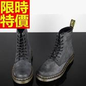 馬丁靴-木紋8孔復古灰做舊真皮中筒女靴子1色65d66【巴黎精品】