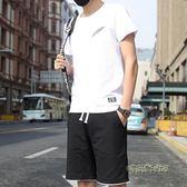 夏季運動套裝男士短袖t恤短褲潮一套衣服韓版休閒大碼兩件套夏天  「時尚彩虹屋」