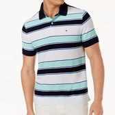 Tommy Hilfiger 男經典Ricky條紋合身Polo衫(海灘藍)