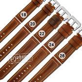 Watchband / 18.20.22.24.26mm / 各品牌通用 經典復刻 百搭款 厚實柔軟 真皮錶帶 黃褐色 #829-02-YWS