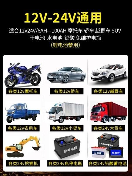 汽車電瓶充電器12V24V大功率車用摩托車蓄電池智慧修復純銅充電機 【米娜小鋪】