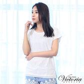 Victoria 透視條紋布落肩短袖T-女-牙白直條