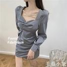 秋裝2020年新款女法式顯瘦氣質裙子秋季收腰減齡連身裙長袖氣質裙CL399『毛菇小象』