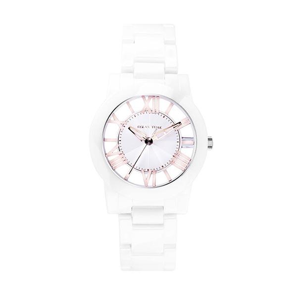 【Relax Time】Diamond羅馬鏤空時尚陶瓷腕錶-天使白/RT-53-3/台灣總代理公司貨享一年保固