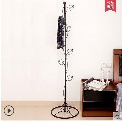 衣帽架落地衣架歐式臥室簡易掛衣架創意鐵藝簡約客廳衣服架子(古銅色)
