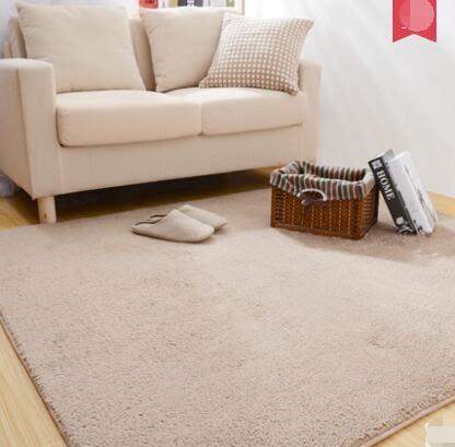 幸福居*維科家紡客廳地毯滿鋪現代簡約茶幾沙發純色絲毛大地毯臥室床邊毯(尺寸:100*160CM)