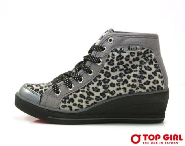 TOP GIRL SESY GIRL 狂野豹紋厚底鞋-灰