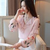 長袖雪紡衫女2020新款春裝刺繡洋氣小衫花邊很仙的上衣雙層