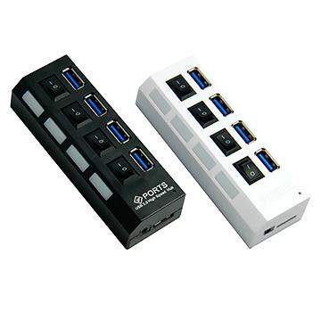 [富廉網] USB 3.0 hub集線器 4口高速帶開關 usb 3.0分線器(USB再上面)