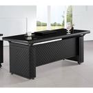 【森可家居】格紋黑皮造型6尺辦公主管桌(...