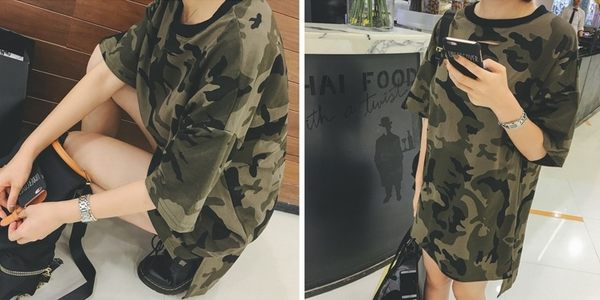 寬鬆破洞圓領短袖迷彩百搭顯瘦中長款T恤 - T-6868