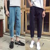 男士牛仔褲簡約休閒小腳褲韓版修身直筒潮流【聚寶屋】