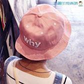 韓國糖果色刺繡字母盆帽防曬遮陽帽【洛麗的雜貨鋪】