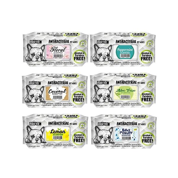 寵物家族-Absorb Plus 寵物抗菌濕紙巾 (80入)6種香味