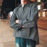 男格子襯衫 式秋冬翻領寬鬆休閒文藝男長袖襯衫 格紋襯衣【非凡上品】cx7846