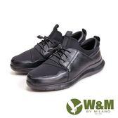 W&M 避震減壓 高彈力帶運動休閒 男鞋-黑
