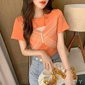 短袖t恤女2021年新款夏季修身氣質鏤空網紗拼接繫帶蝴蝶結上衣潮 蘿莉新品