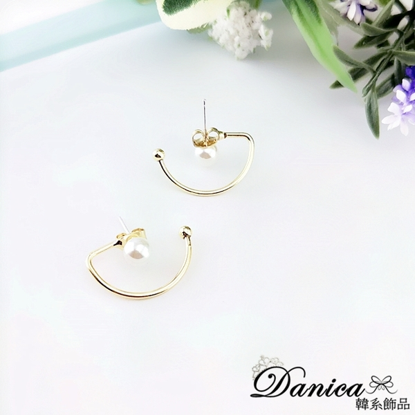 現貨不用等 韓國時尚氣質冷淡風法式幾何珍珠925銀針耳環 S93832 批發價 Danica 韓系飾品 韓國連線