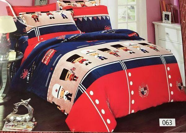 【貝淇小舖】超柔法蘭絨 / 英國旗士 (單人鋪棉床包+枕套) 超暖熱賣款