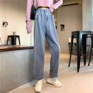 牛仔褲秋裝新款老爹褲子淺色闊腿牛仔褲女高腰顯瘦直筒寬鬆拖地長褲 【快速出貨】