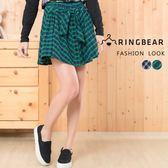 短裙--甜美學院風氣質蝴蝶結排釦裝飾鬆緊格紋褲裙(藍.綠XL-4L)-R173眼圈熊中大尺碼◎