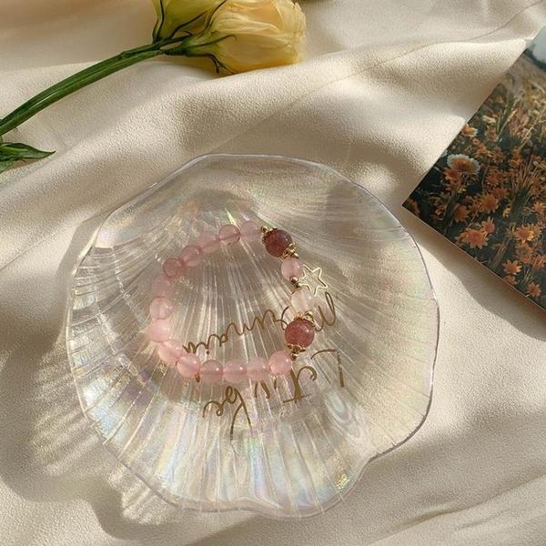 手鍊 草莓粉水晶轉運珠招桃花運手鍊女學生簡約串珠個性韓版甜美風手串 摩可美家