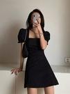 方領洋裝 2021年新款法式復古小黑裙設計感小眾梗桔初戀森系連身裙子女夏季 晶彩 99免運