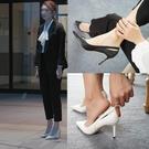 百姓館 白色高跟鞋女細跟法式尖頭百搭面試職業黑色工作單鞋