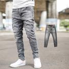 牛仔褲 韓國製灰黑立體刷色小抓破彈性牛仔褲【NB0645J】