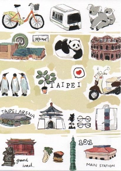 【收藏天地】台灣紀念品*明信片-Taipei x post card /文創 手帳 文具 禮品 小物 手冊
