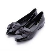 DBL 軟漆皮蝴蝶結低跟鞋 黑 A2568-3 女鞋 鞋全家福