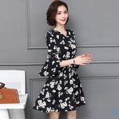 海外直發不退換韓版大尺碼洋裝夏裝新款女裝胖mm時尚氣質收腰碎花V領時尚短袖連衣裙(MA137)