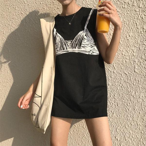 [協貿國際]寬松印花無袖T恤休閑中長款圓領衫純色上衣1入