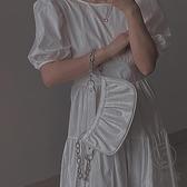 單肩側背包女鱷魚紋鏈條包褶皺云朵餃子手拎包【小酒窩服飾】
