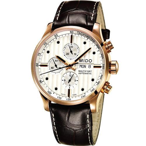 MIDO 美度 Multifort系列三眼計時碼皮帶手錶-玫瑰金 M0056143603100