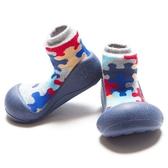 韓國 Attipas 快樂腳襪型學步鞋-藍底拼圖
