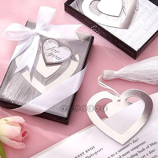 【BlueCat】婚禮小物 真愛不朽之戀典雅雙愛心造型書籤禮盒