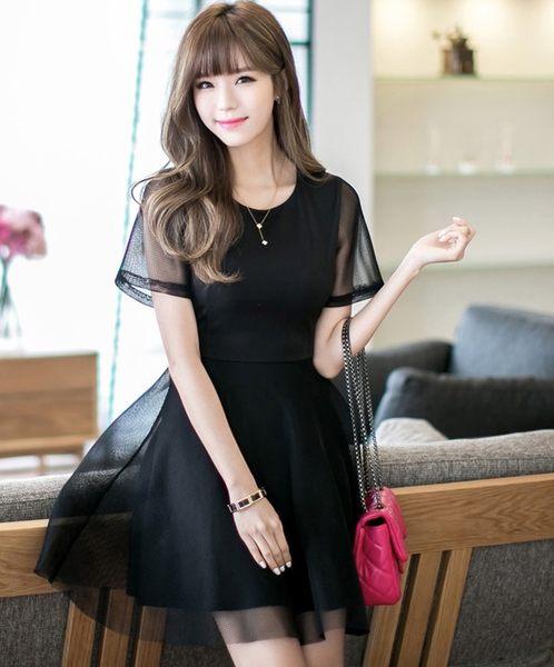 大尺碼禮服 韓版禮服網紗短袖連衣裙 L-4XL #wm7400 ❤卡樂store❤