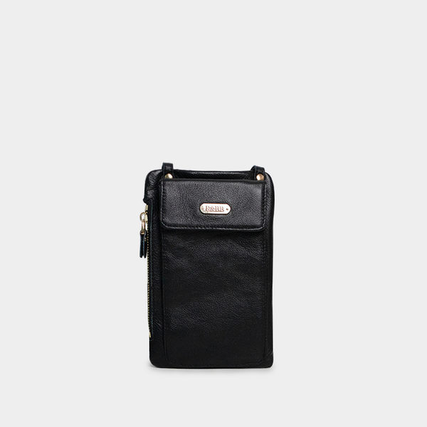 R&BB真皮牛皮包包-多功能手機袋錢夾斜背護照小包(iPhone Plus三星Note、S系列)-黑色